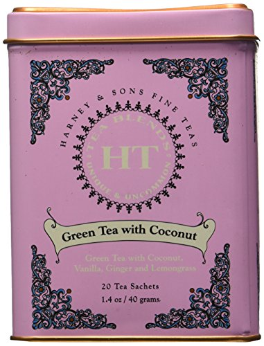 Harney and Sons Fine Teas, Green Tea with Coconut, 20 Sachets (Pack of 3)