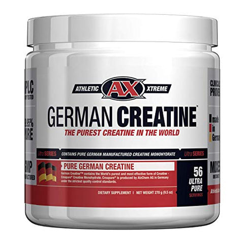 German Creatine (Pure Creapure, The Purest Creatine Monohydrate Available) -- 270g (56 Servings) | Micronized Creatine from Germany not Chinese Contaminated Junk