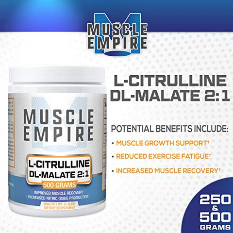 L-Citrulline DL-Malate 2:1 Powder - Nitric Oxide Booster & Muscle Recovery Support - 500 Grams - Muscle Empire