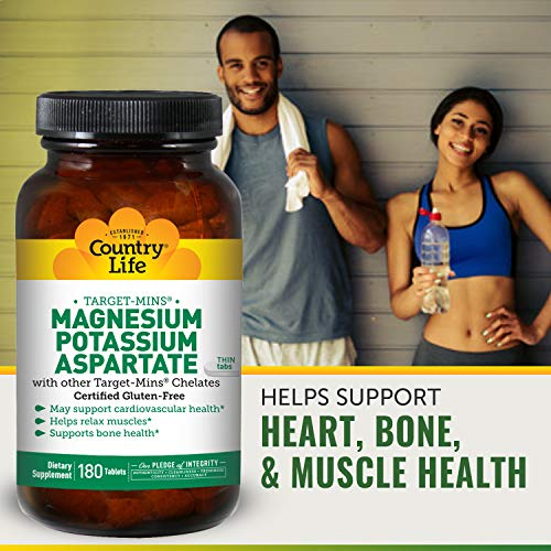 Country Life Target Mins Magnesium Potassium Aspartate With Chelates   Support For Cardiovascular He