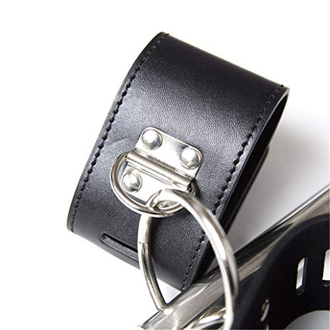 Black Leather Bo`nd-g Iron Pipe Wrist Neck and Hand C-?`f`f=s B+D+S-M R-s`tr`i-nt Role Play Games Toys