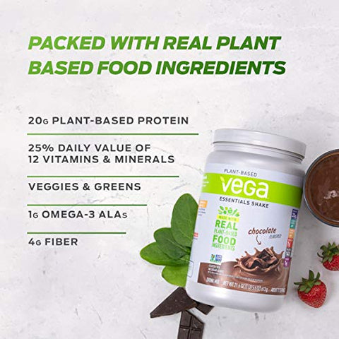 Vega Essentials Protein Powder, Mocha, Plant Based Protein Powder Plus Vitamins, Minerals and Antioxidants - Vegan, Vegetarian, Keto-Friendly, Gluten Free, Dairy Free (18 Servings, 1lb 6oz)