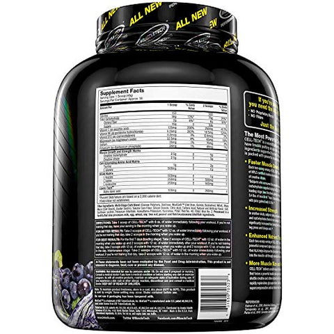 MuscleTech CellTech Creatine Powder, Micronized Creatine, Creatine HCl, Grape, 6 Pounds