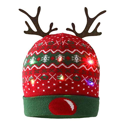 LIMINGZE Christmas Beanie Hat Decorative Antlers LED Light Up Knitted Hat Winter Warm Hat