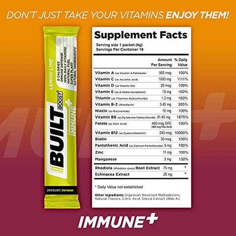 Built Boost Immune+ 18 Pack Natural Energy Drink Mix - 100% of 14 Daily Vitamins - Immune Support and Sustained Energy - Caffeine Free, Gluten Free and Zero Calories (Lemon Lime)