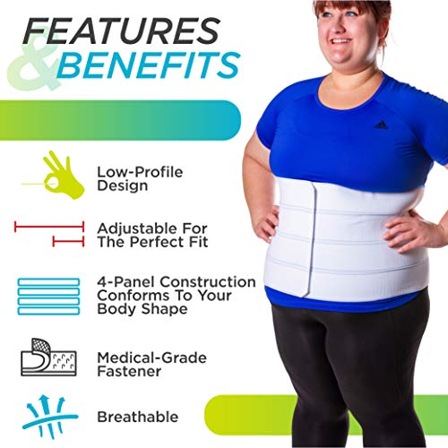 BraceAbility 4XL Plus Size Bariatric Abdominal Stomach Binder | Obesity Girdle Belt for Big Men & Women with a Large Belly, Post Surgery Tummy & Waist Compression Wrap