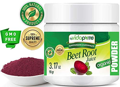 Beet Root Juice Powder Organic Freeze-Dried, Pure Natural RAW Gluten-Free, Non-GMO. Natural Booster, Superfood Powder for Smoothie, Beverages. 3.17 oz  90 gr. by myVidaPure