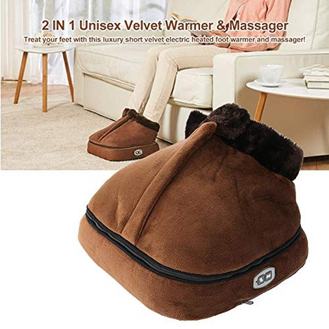 2 in 1 Foot Massager & Heated Doot Warmer, Unisex Velvet Electric Machine Massage Feet Massaging Big Slipper(Brown)