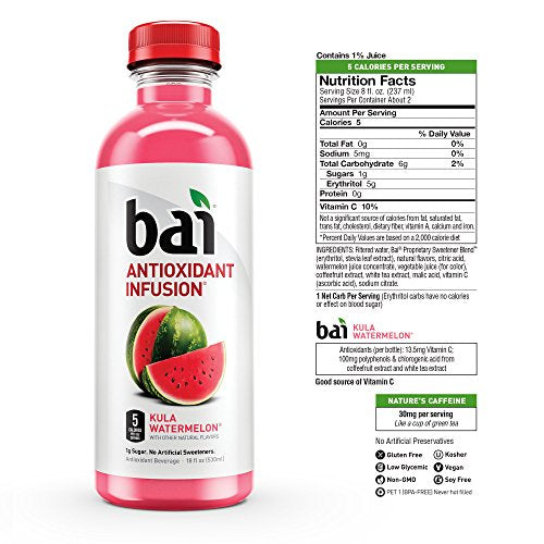 Bai Flavored Water, Kula Watermelon, Antioxidant Infused Drinks, 18 Fluid Ounce Bottles, 6 count