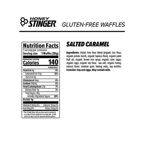 Honey Stinger Organic Gluten Free Waffle, Salted Caramel, Sports Nutrition, 1.06 Ounce (6 Count)