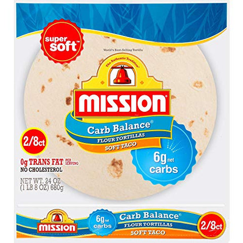 Mission Low Carb Soft Taco Flour Tortilla's 24 oz 2/8 ct Twin Pack - 4g Net Carbs