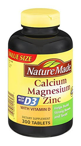 Nature Made Calcium Magnesium Zinc Tablets 300 ea (Pack of 3)