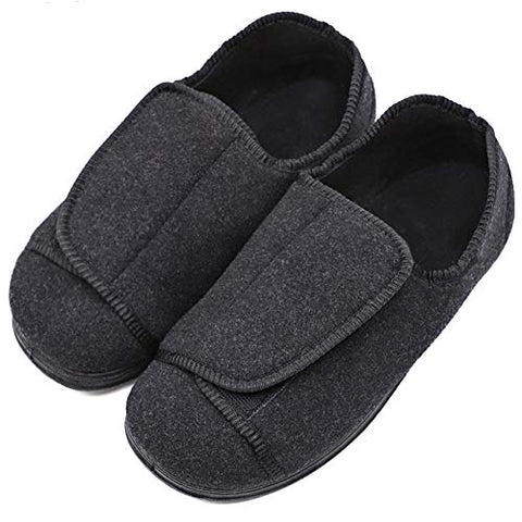 MEJORMEN Womens Diabetic Edema Slippers Comfortable Sturdy Sole Shoes Orthopedic with Adjustable Closures for Wide/Swollen Feet Black, 10
