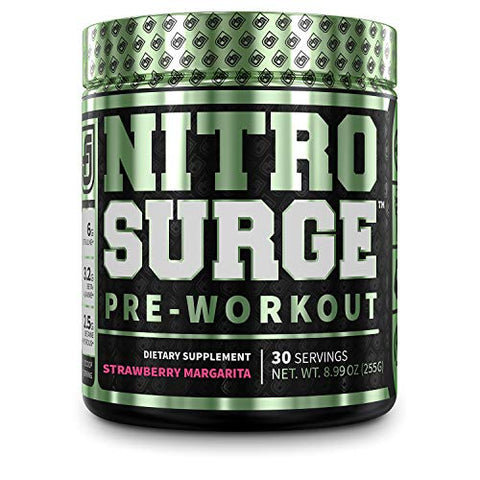 NITROSURGE Pre Workout Supplement - Energy Booster, Instant Strength Gains, Clear Focus, & Intense Pumps - Nitric Oxide Booster & Powerful Preworkout Energy Powder - 30 Servings, Strawberry Margarita