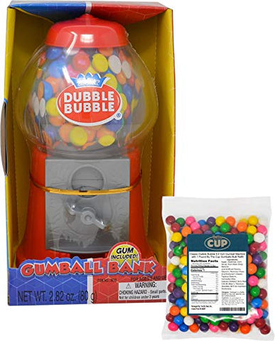 Classic Dubble Bubble 8.5 Inch Gumball Machine with 1 Pound By The Cup Gumballs Bulk Refill