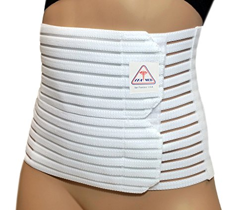 "ITA-MED Women's Breathable 8"" Wide Abdominal Light Support Binder White Belt, 2XL"