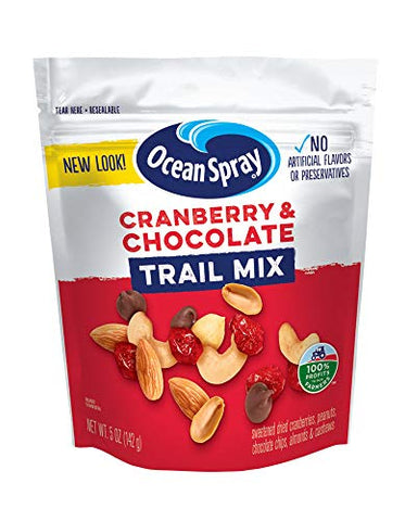 Ocean Spray Craisins Dried Cranberries, Cranberry & Chocolate Trail Mix, 5 Ounce (Pack of 12)