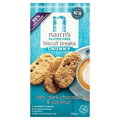Nairn's Gluten Free Oats, Dark Chocolate & Coconut Breakfast Biscuit Breaks - 160g (0.35 lbs)