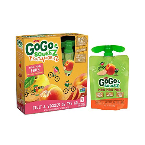 GoGo squeeZ Fruit & VeggieZ, Apple Peach Sweet Potato, 3.2 Ounce Pouches, 4 Count