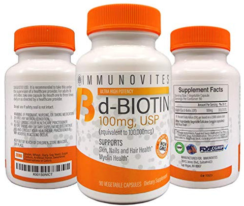 3-Pack High Dose Biotin (as d-Biotin, USP) 100mg (Equivalent to 100,000mcg) 90 Capsules, High Potency (3)