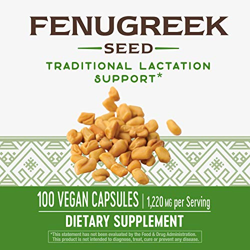 Nature's Way Fenugreek Seed, 1,220 Mg Per Serving, Non Gmo, Tru Id Certified, 100 Count