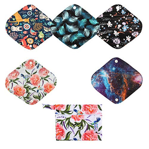 5 Small Panty Liners 1 Wet Bag Cloth Menstrual Pads Reusable Washable (Floral, S Panty Liners)