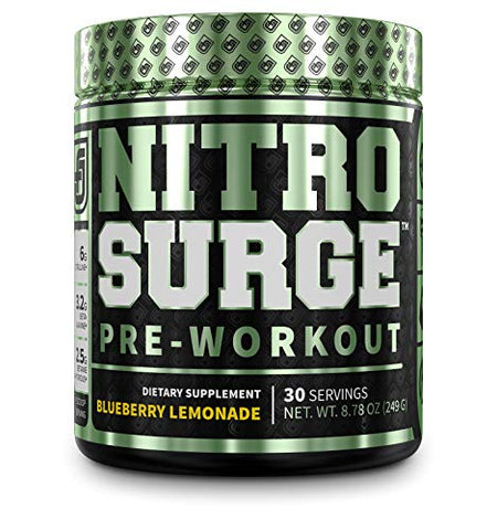 NITROSURGE Pre Workout Supplement - Endless Energy, Instant Strength Gains, Clear Focus, Intense Pumps - Nitric Oxide Booster & Powerful Preworkout Energy Powder - 30 Servings, Blueberry Lemonade