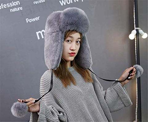 Winter Hat Thick Cap Warm Fashion Wool Warm Lovely Faux Fur Headband Outdoor Sports Ski Earwarmer (Gray)