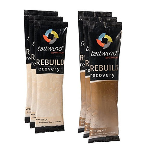 Tailwind Nutrition Rebuild Recovery 6 Pack Assortment Chocolate Vanilla Bag | Complete Protein, Elec