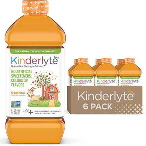 Kinderlyte | Natural Pediatric Electrolyte Solution | Doctor-Formulated for Rapid Rehydration | No Artificial Sweeteners, Colors or Flavors | Kid-Friendly Taste | 6pk of 1L Bottles | Orange