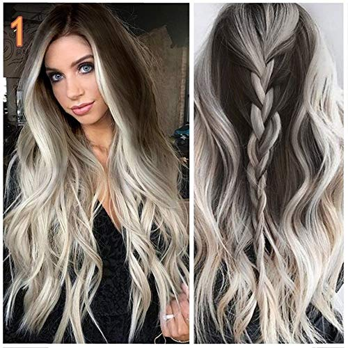SayhiFashion Womens Long Wavy Full Wigs Grey Hair Replacement Wigs Natural As Real Hair Party Cosplay Accessories
