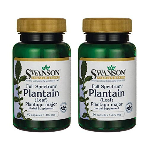 Swanson Full Spectrum Plantain (Leaf) Plantago Major 400 Milligrams 60 Capsules (2 Pack)