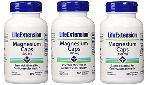 Life Extension Magnesium Vegetarian Capsules, 500 mg, 100 Count (Pack of 3)
