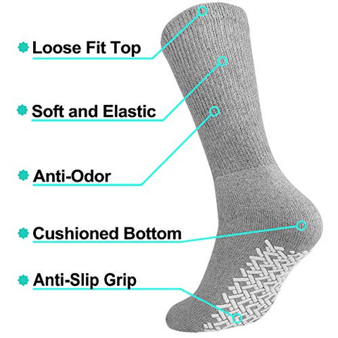 Men Women Anti Slip Grip Non Skid Crew Cotton Diabetic Socks For Home Hospital (3-pairs Grey, 13-15 Extra Large)