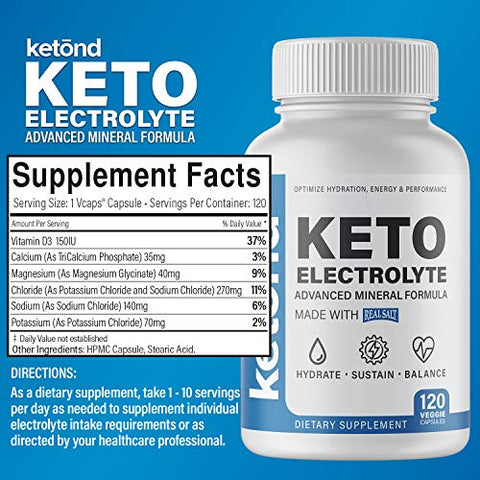 Ketond Keto Electrolyte Pill with RealSalt  Replenish and Balance Electrolytes  120 Pills
