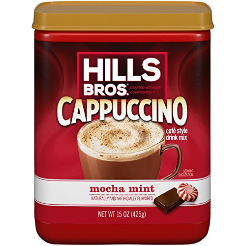 Hills Bros. Instant Cappuccino Mix, Mocha Mint Cappuccino Mix - Easy to Use, Enjoy Coffeehouse Flavor from Home -Decadent Cappuccino with a Mix of Chocolate and Mint Flavors (15 Ounces, Pack of 6)