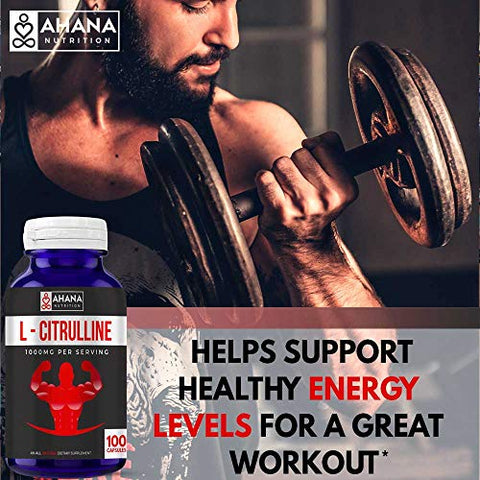 L-Citrulline Capsules by Ahana Nutrition  Nitric Oxide Booster Supplement to Help Support Circulation and Heart Health System (1000mg - 100 Capsules)