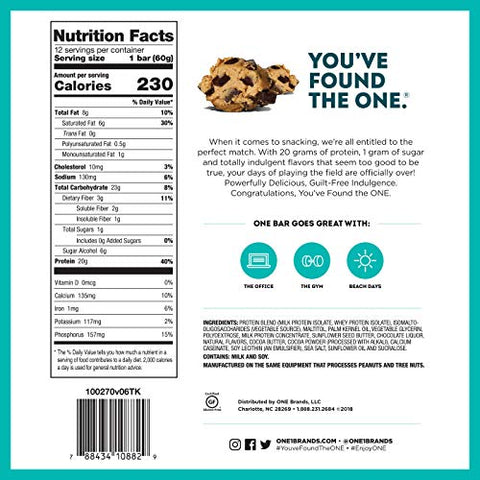 ONE Protein Bars, Chocolate Chip Cookie Dough, Gluten-Free Protein Bar with 20g Protein and only 1g Sugar, Snacking for High Protein Diets, 2.12 Ounce (4 Pack)