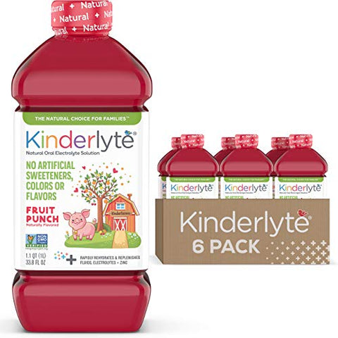 Kinderlyte | Natural Pediatric Electrolyte Solution | Doctor-Formulated for Rapid Rehydration | No Artificial Sweeteners, Colors or Flavors | Kid-Friendly Taste | 6pk of 1L Bottles | Fruit Punch