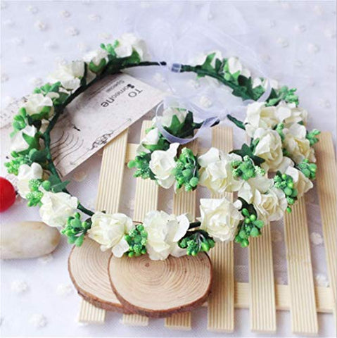 Forest & Rural Style Milk White Queen Princess Bridal Flower Garland Wristband Wreath Headband Crown Hair Decor