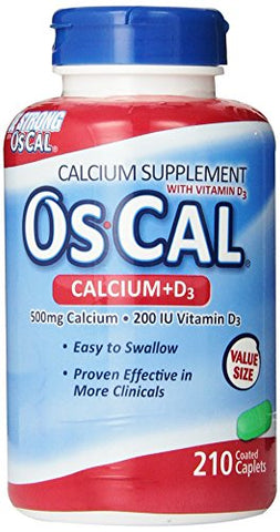 OsCal 500 mg Calcium + 200 IU Vitamin D3 Caplets Calcium Supplement, 210 count