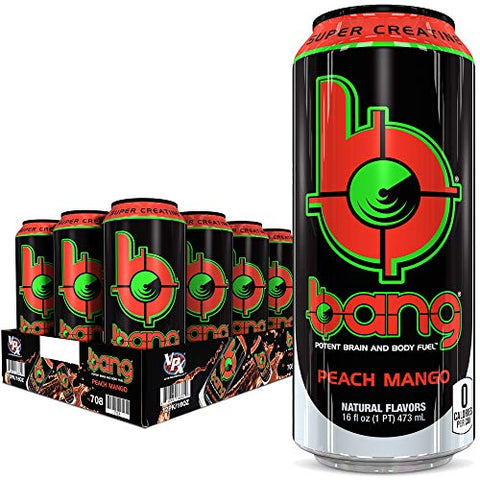 Bang Peach Mango Energy Drink, 0 Calories, Sugar Free with Super Creatine, 16oz, 12 Count