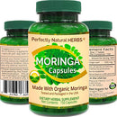Image of 150 Moringa Capsules Made With USDA Certified Organic Moringa Leaf Powder, Net Weight of 500mg per Capsule