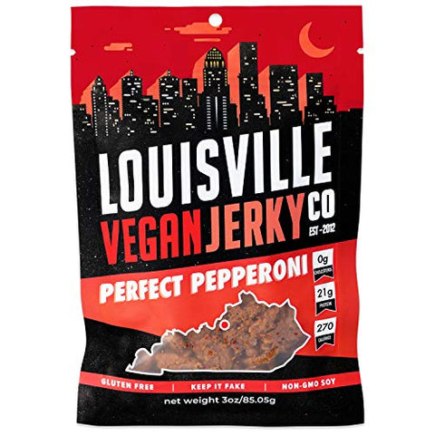 Louisville Vegan Jerky - Perfect Pepperoni, Vegetarian & Vegan-Friendly Jerky, 21 Grams of Non-GMO Soy Protein, 270 Calories Per Bag, Gluten-Free Ingredients (3 oz)