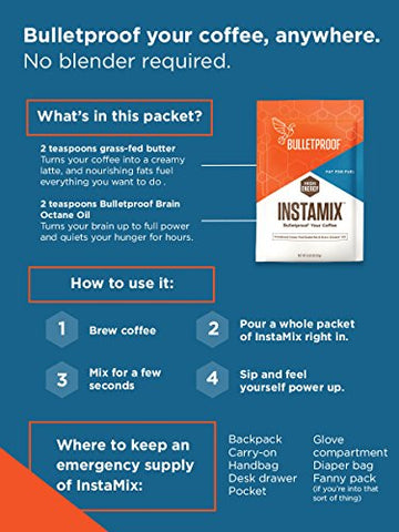 Bulletproof Coffee InstaMix Creamer, Includes Grass Fed Ghee and Brain Octane Powder, Keto Diet Friendly, Instant Energy 14 Packets