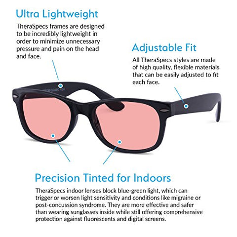 TheraSpecs Classic Migraine Glasses for Light Sensitivity, Photophobia and Fluorescent Lights | Unisex | Indoor Lenses