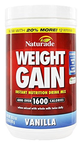 Naturade Weight Gain Instant Nutrition Drink Mix, Vanilla, 16.9 Oz
