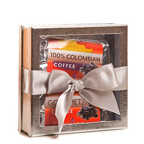 Gourmet Coffee Gift Set - Coffee Gift Basket - Coffee Lovers Gifts - Coffee Gift Set - Best Coffee Gift (Silver)