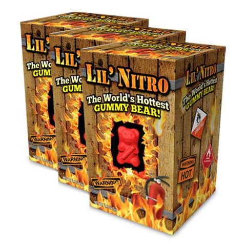 Lil' Nitro World's Hottest Gummy Bear - Hot & Spicy Candy (Pack of 3)