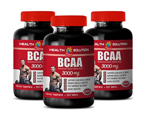 Bodybuilding Supplements for Muscle Growth - BCAA 3000 MG - leucine Amino Acid Supplements - 3 Bottles 360 Tablets